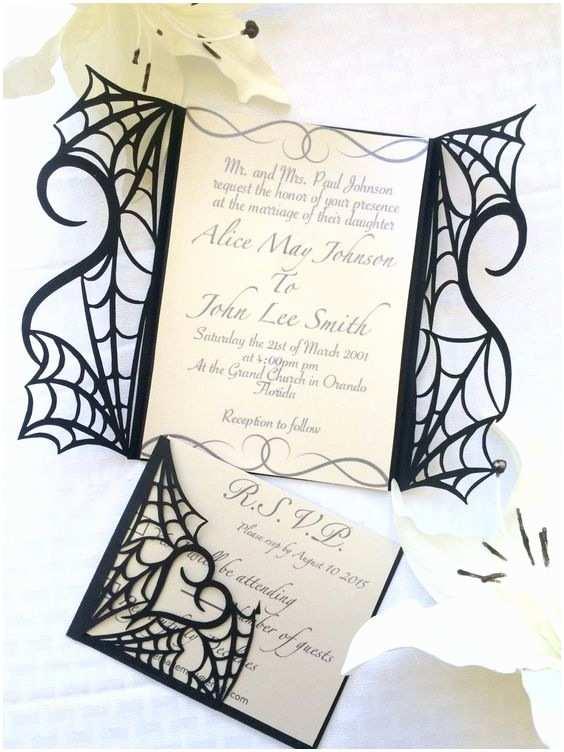 Cheap Halloween Wedding Invitations Gothic Halloween Wedding Party Invitation Set On Etsy