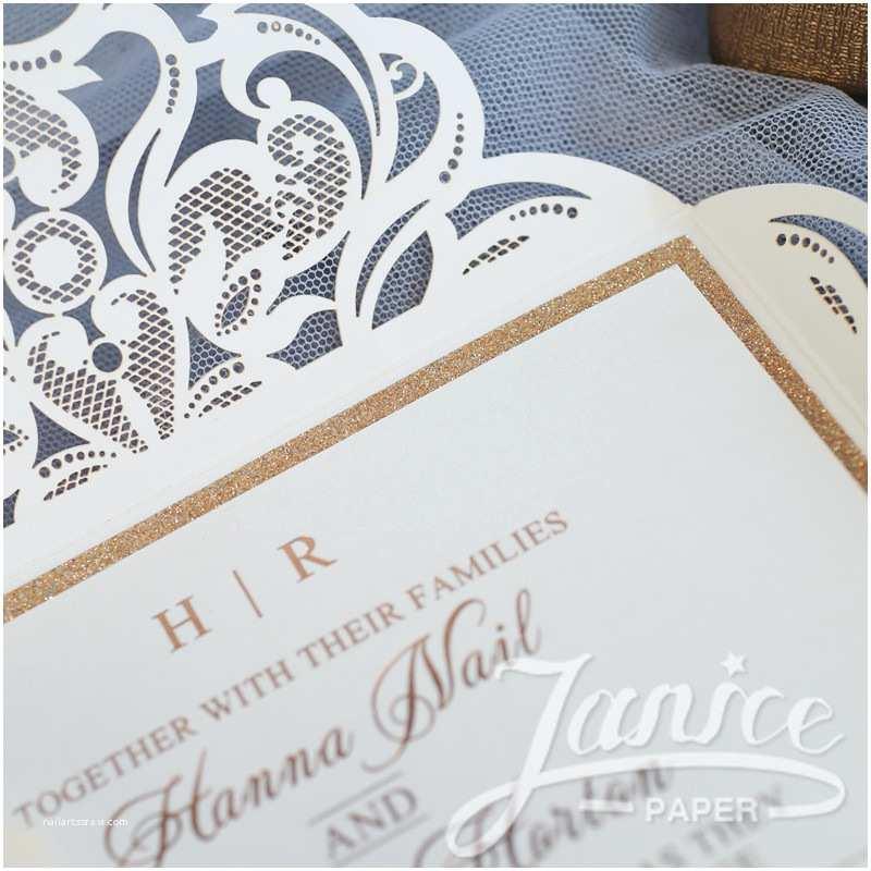 Cheap Laser Cut Wedding Invitations Pearl White Laser Cut wholesale Wedding Invitation Wpl0019
