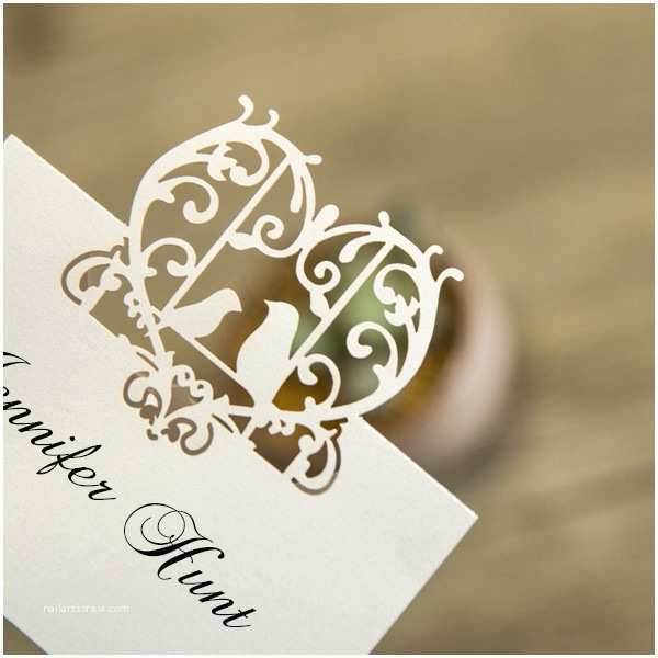 Cheap Love Bird Wedding Invitations Cheap Love Birds Laser Cut Place Card Ewpc002 as Low as $0