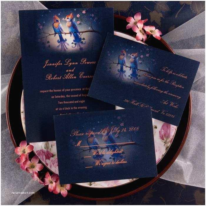 Cheap Love Bird Wedding Invitations Chic Rustic Love Birds Countryside Blue Wedding