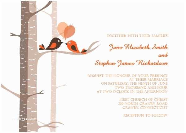 Cheap Love Bird Wedding Invitations Free Love Birds Wedding Invitation Template