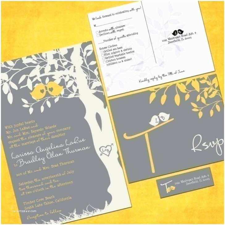 Cheap Love Bird Wedding Invitations Gray and Yellow Wedding Invitations Discount Wedding