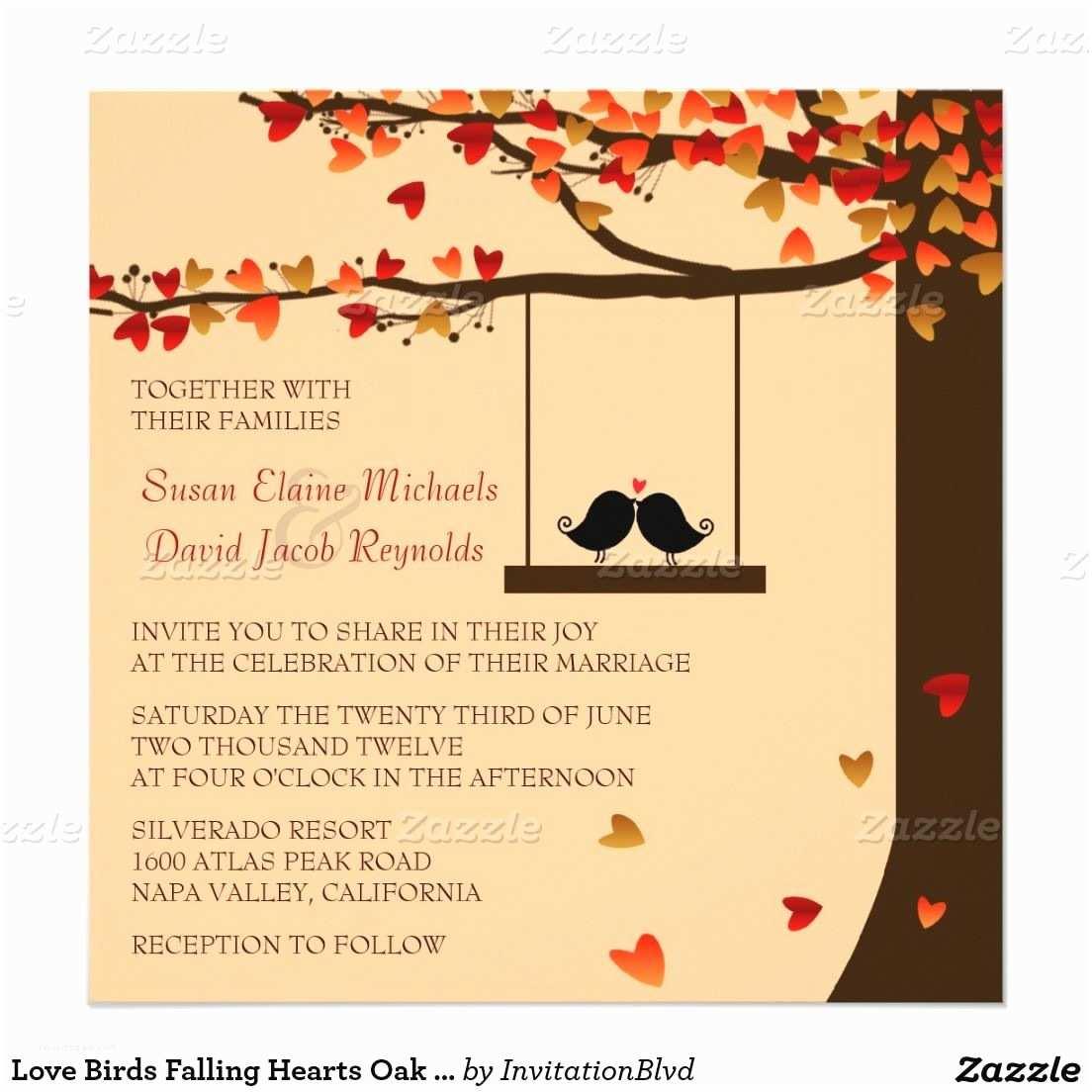 Cheap Love Bird Wedding Invitations Love Birds Falling Hearts Oak Tree Wedding Invite Autumn