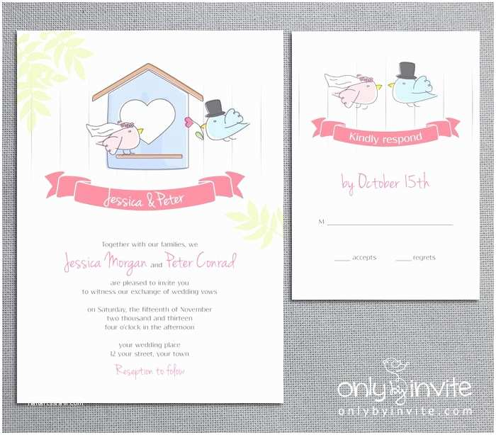 Cheap Love Bird Wedding Invitations Love Birds House Bride Groom Whimsical Spring Printable