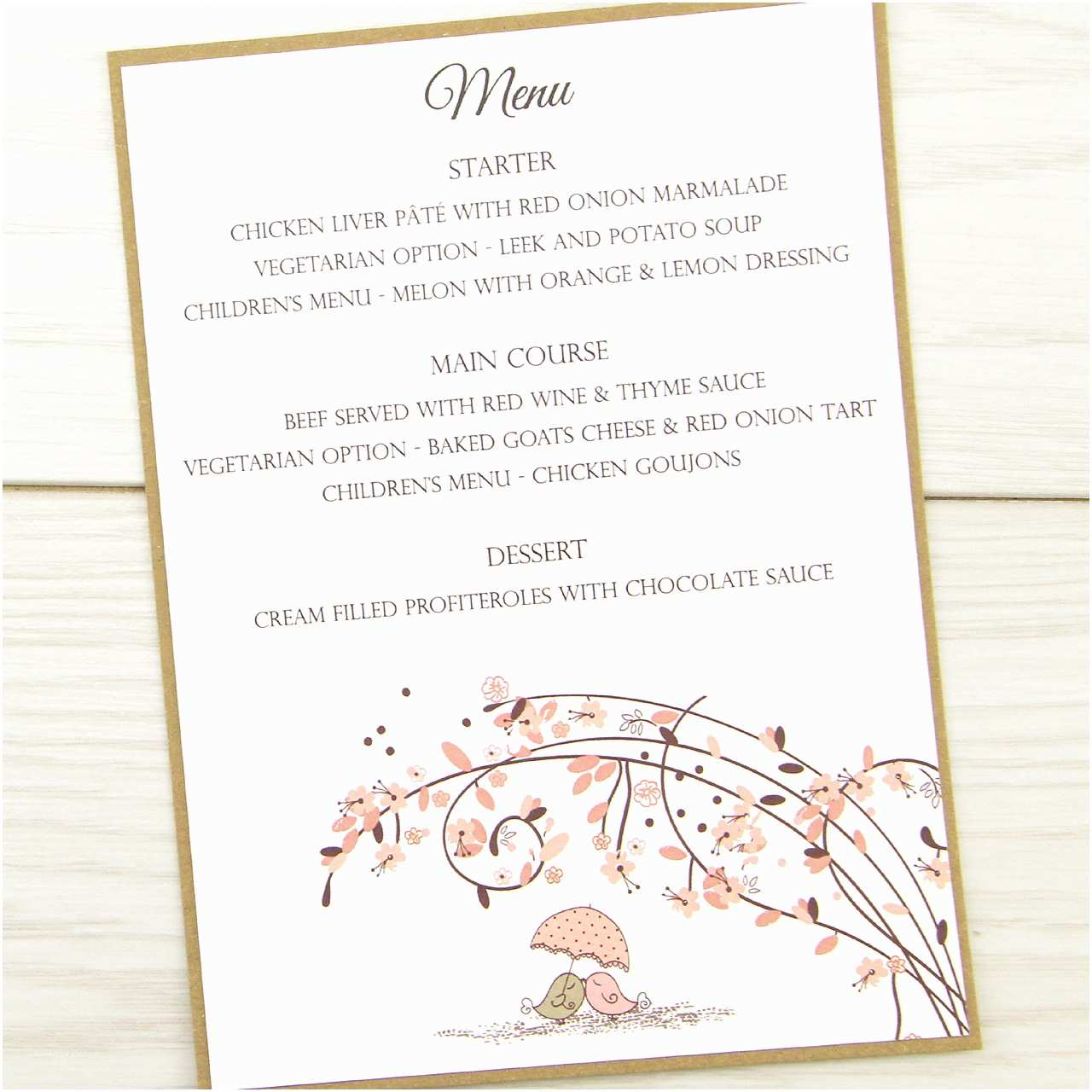 Cheap Love Bird Wedding Invitations Love Birds Menu