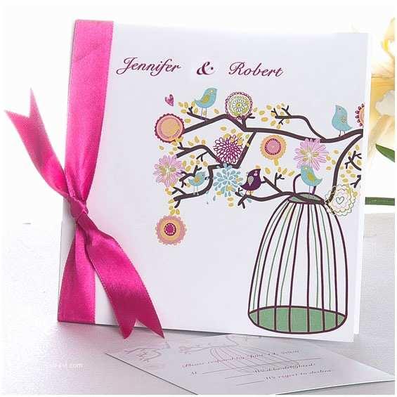 Cheap Love Bird Wedding Invitations Modern Love Birds Folded Wedding Invitations with Pink