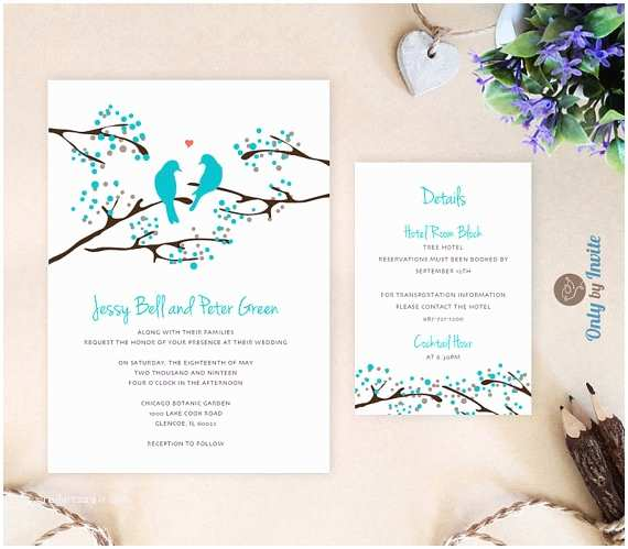 Cheap Love Bird Wedding Invitations Turquoise Wedding Invitation and Info Card Love Bird Wedding