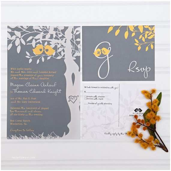 Cheap Love Bird Wedding Invitations Yellow and Gray Wedding Invitations Love Birds In A Tree