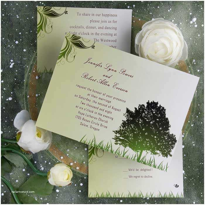 Cheap Nice Wedding Invitations Cheap Rustic Green Tree Country theme Wedding Invitations