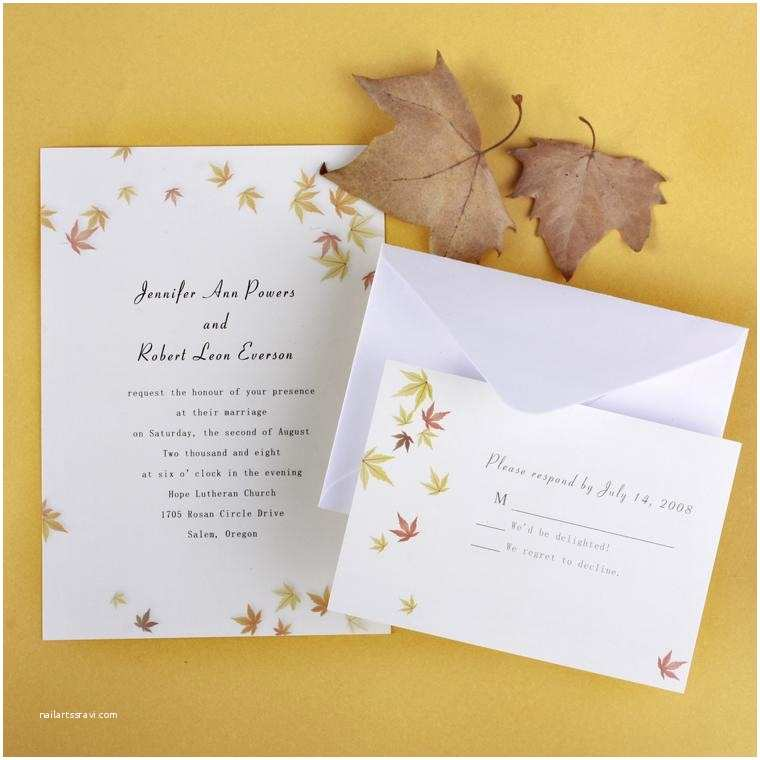Cheap Nice Wedding Invitations Ivory and Yellow Maple Leaves Fall Affordable Wedding