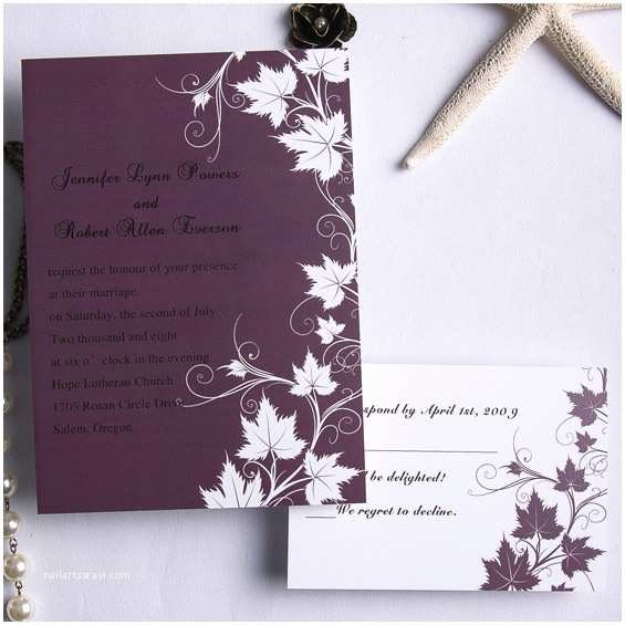 Cheap Plum Wedding Invitations Cheap Retro Plum Maple Flowers Fall Wedding Cards Ewi169