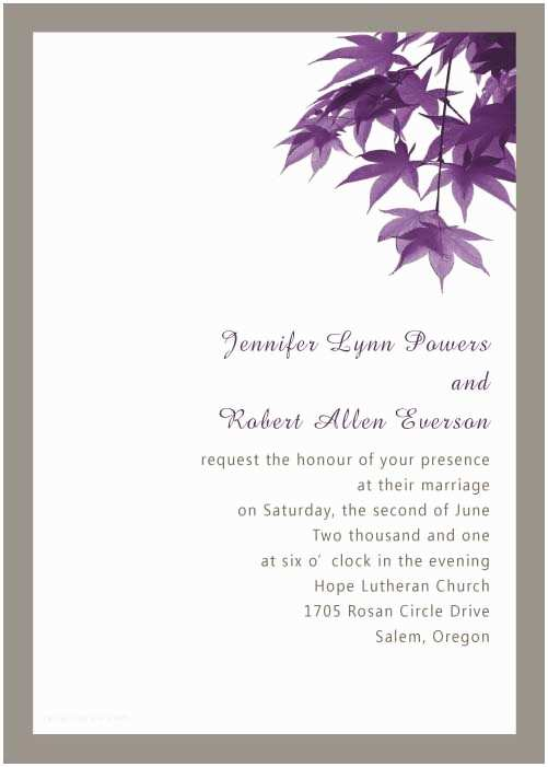 Cheap Plum Wedding Invitations Modern Purple Leaves Online Fall Wedding Invitation Ewi049