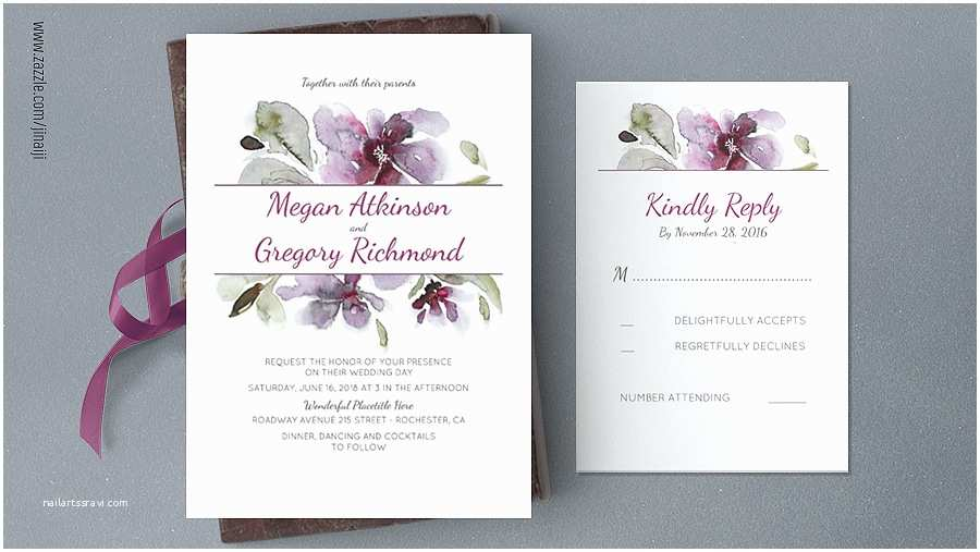 Cheap Plum Wedding Invitations Read More – Plum Watercolor Flower Wedding Invitation