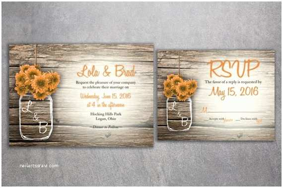 Cheap Rustic Country Wedding Invitations Cheap Mason Jar Flowers Rustic Wedding Invitation Set Printed