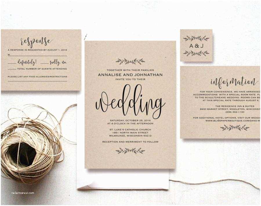 Cheap Rustic Country Wedding Invitations Kraft Wedding Invitation Printable Rustic Invitation Set