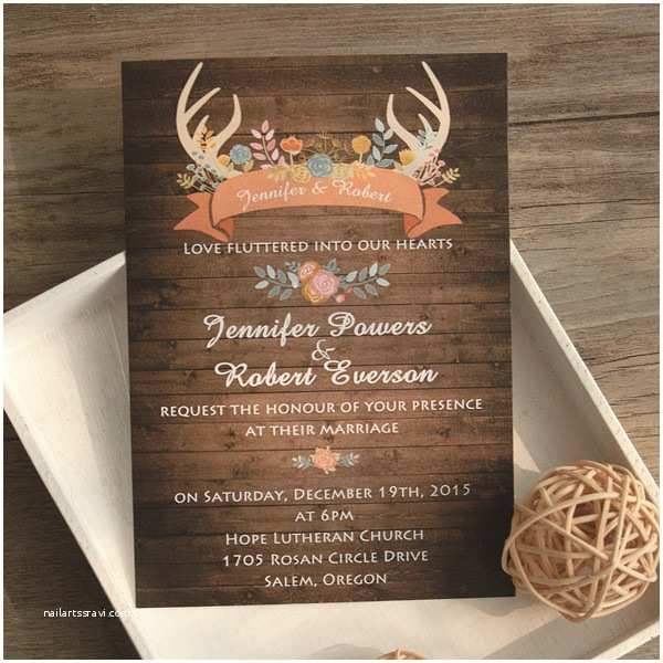 Cheap Rustic Country Wedding Invitations Wood Antler Flower Rustic Wedding Invites Ewi417 as Low as