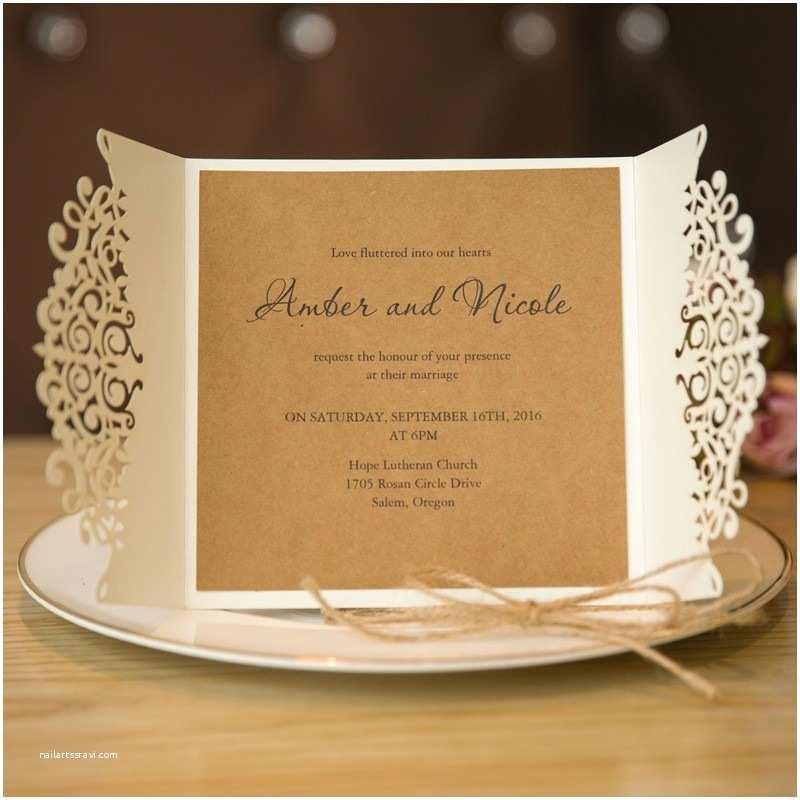 Cheap Wedding Invitation Cards formal White Laser Cut Wedding Invitation Cards with Band