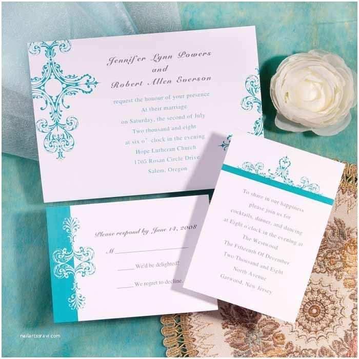 Cheap  Invitation Ideas Simple Tiffany Blue Damask Brides Inexpensive