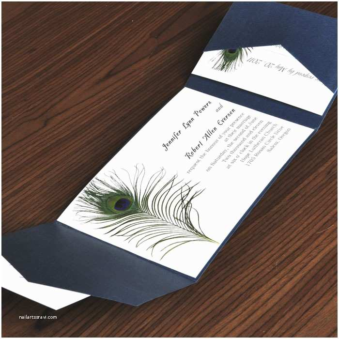 Cheap Wedding Invitation Ideas Unique Peacock White And Blue Pocket Wedding Invites