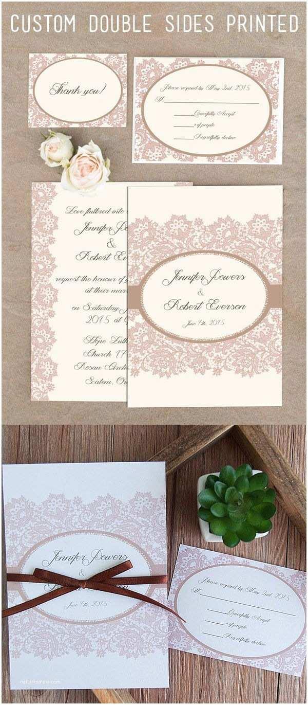 Cheap Wedding Invitation Kits Inexpensive Vintage Lace Elegant Ribbon Double Printing