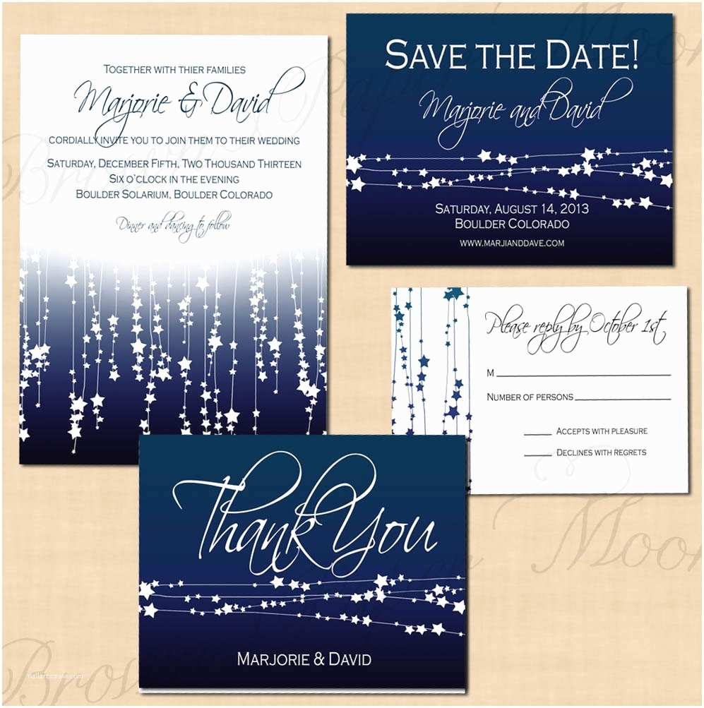 Cheap Wedding Invitations and Save the Dates Packages Midnight Blue Star Streamers Save the Date Invitation Rsvp