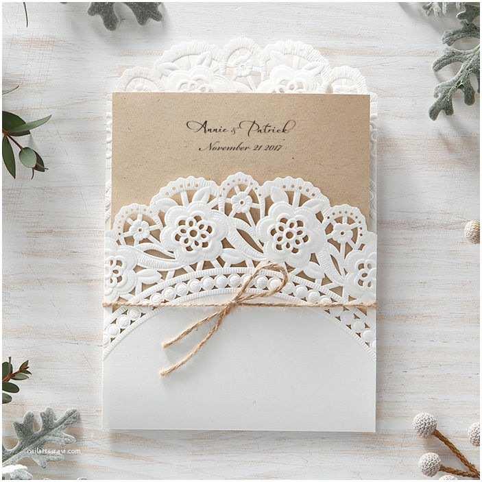 Cheap Wedding Invitations Ebay Kraft Doily Lace Vintage Cord Wedding Invitation Rustic