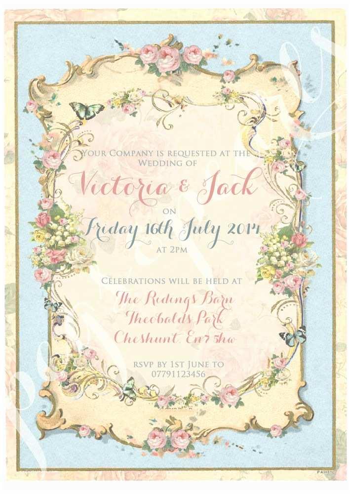 Cheap Wedding Invitations Ebay Personalised Vintage Summer Tea Party Shabby Chic Wedding