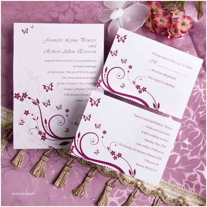 Cheap Wedding Invitations Elegant Purple butterfly Wedding Invitations with Response