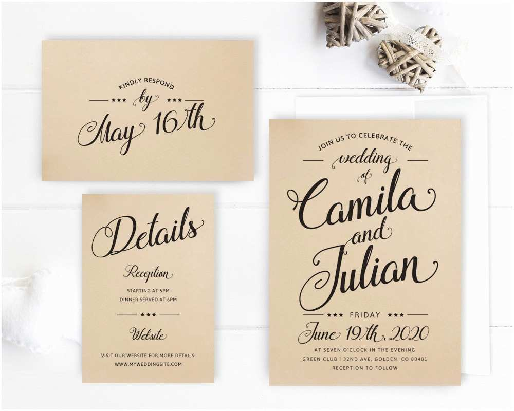 Cheap Wedding Invitations Packs Cheap Wedding Invitation Packages Kraft Wedding Invitation