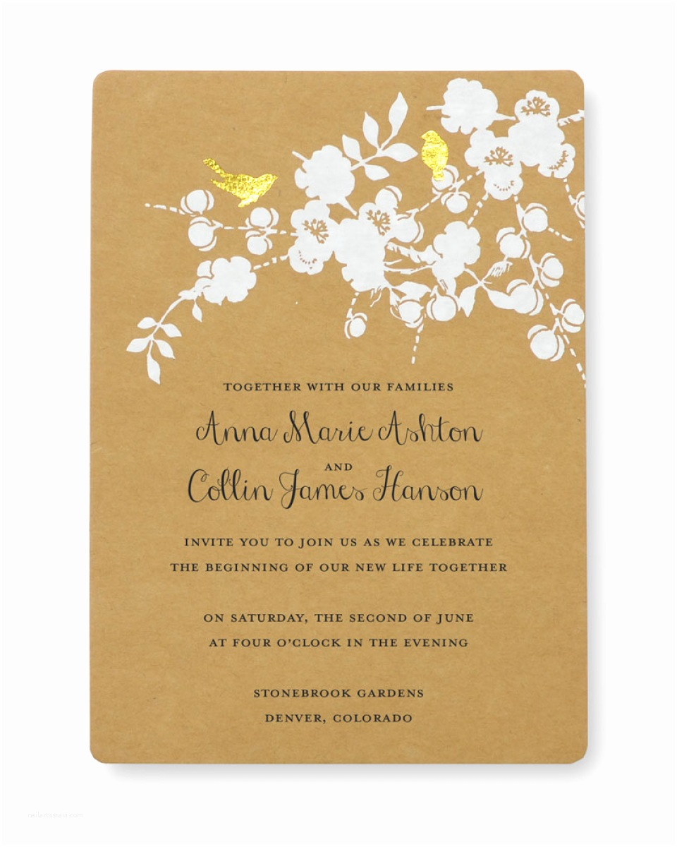 Cheap Wedding Invitations Walmart Print at Home Invitation Kit Gold Foil Birds