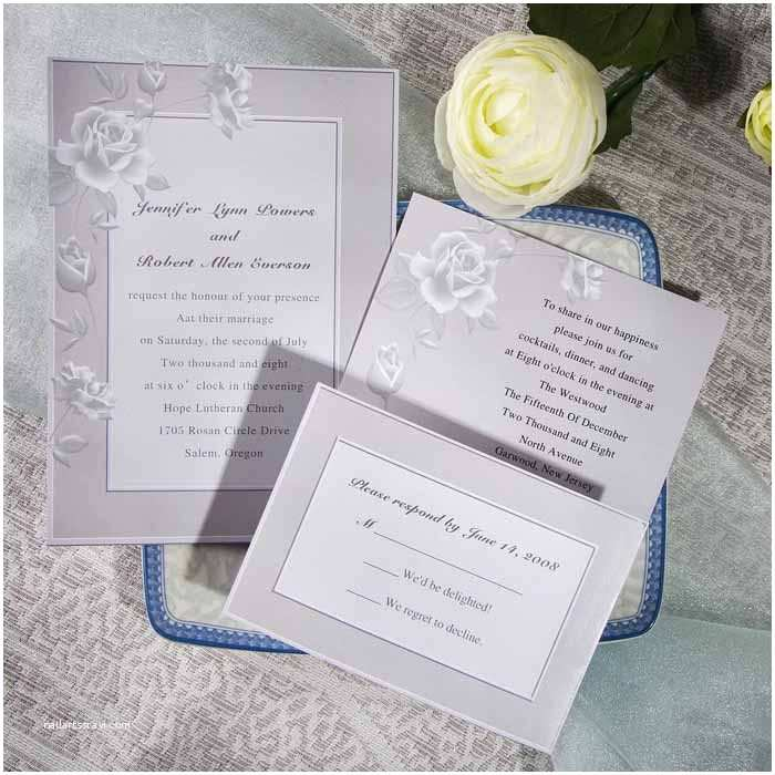 Cheap Wedding Invitations with Free Response Cards Elegant Grey Rose Floral Inexpensive Online Wedding