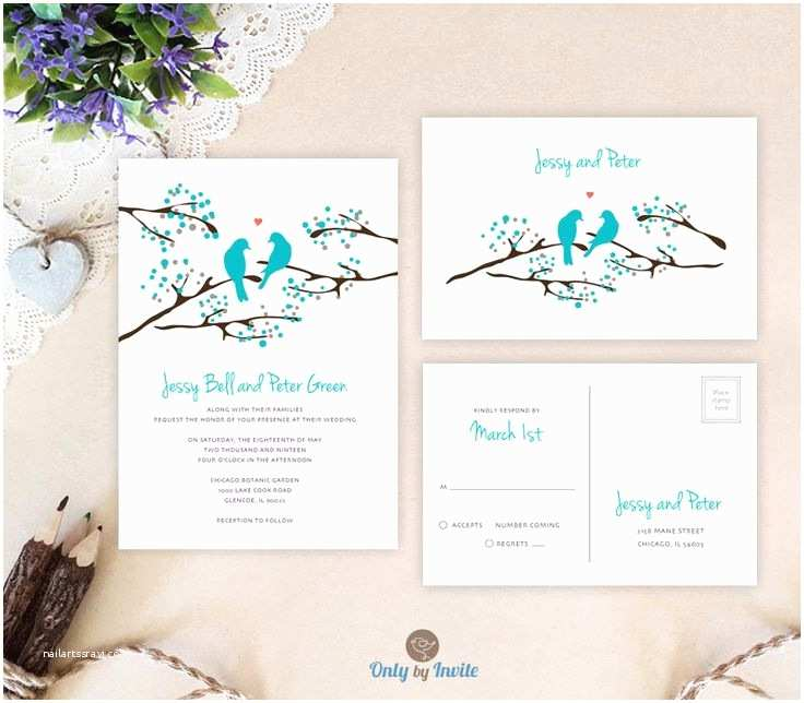Cheap Wedding Invites with Response Cards Birds Wedding Invitation with Rsvp Postcard