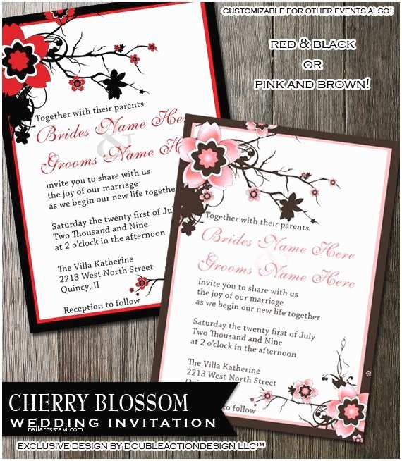 Cherry Blossom Wedding Invitations Cherry Blossom Wedding Invitation Diy Digitable Printable