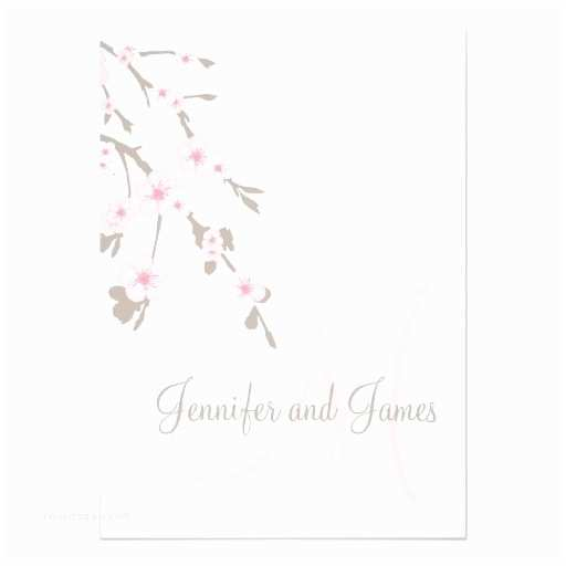 Cherry Blossom Wedding Invitations Cherry Blossom Wedding Invitation Monogram Back