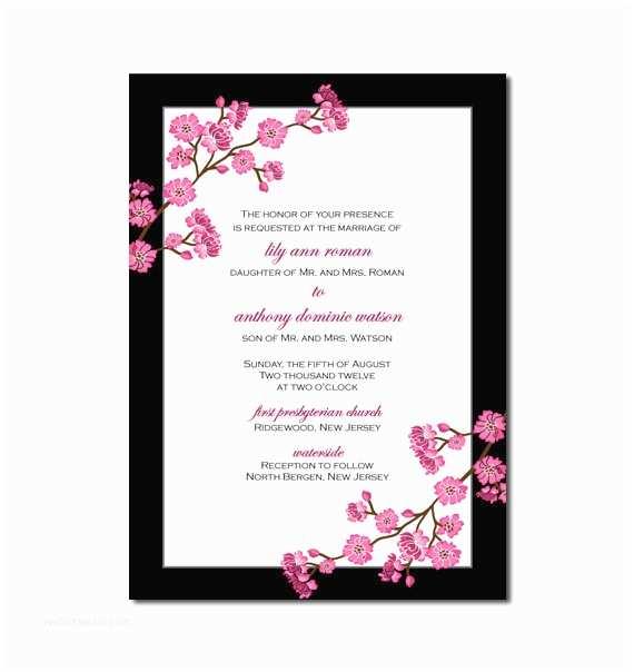 Cherry Blossom Wedding Invitations Cherry Blossom Wedding Invitation Or Cherry Blossom