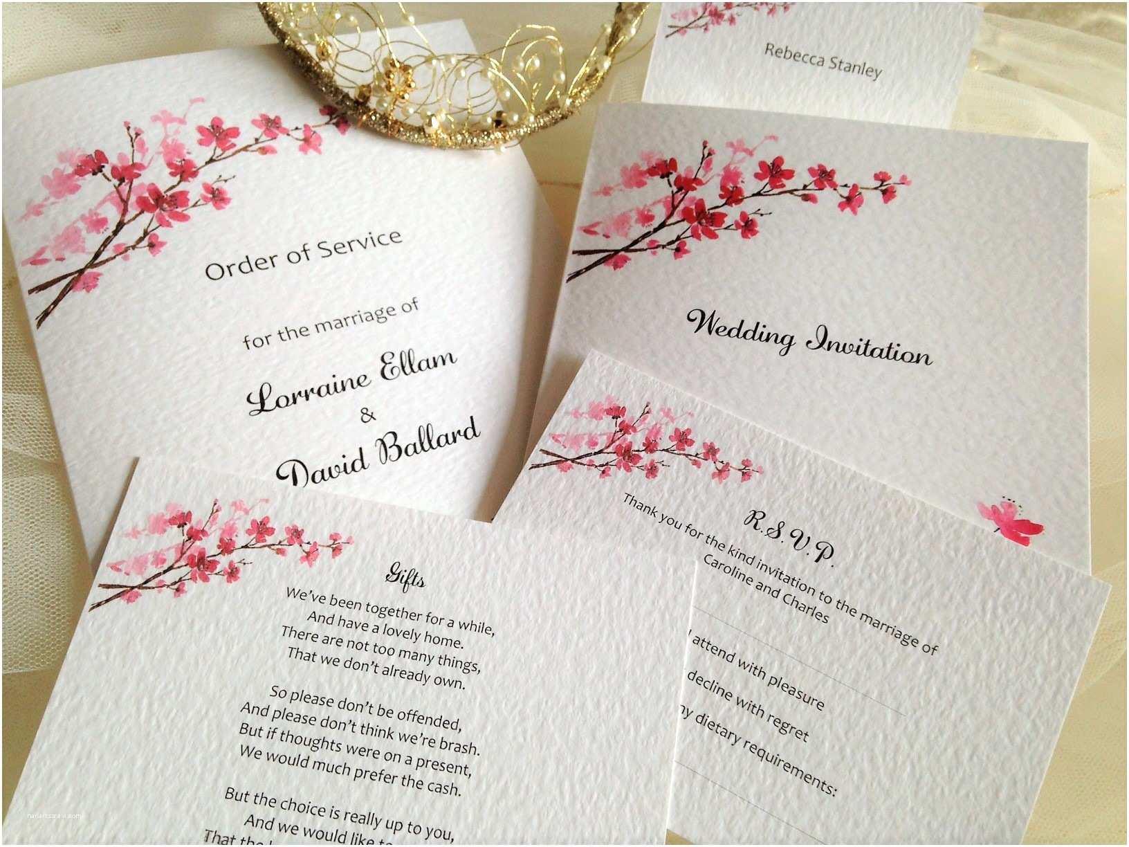 Cherry Blossom Wedding Invitations Cherry Blossom Wedding Invitations