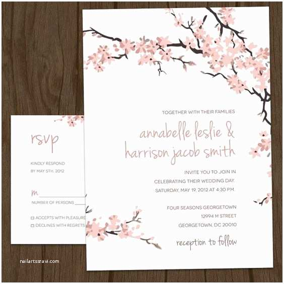 Cherry Blossom Wedding Invitations Cherry Blossoms Blossoms and Modern Wedding Invitations