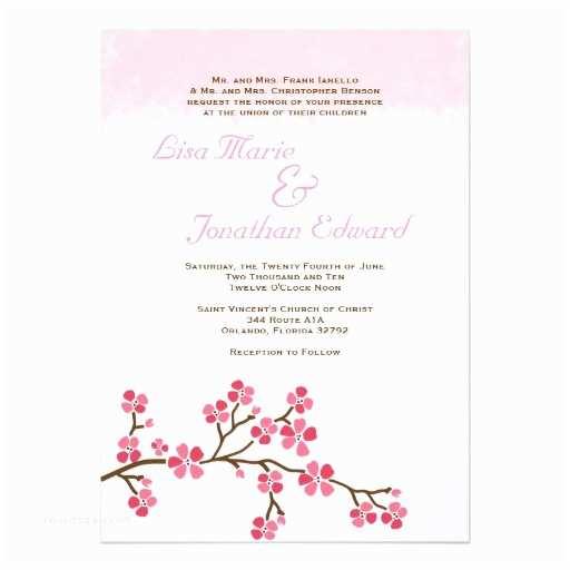 """Cherry Blossom Wedding Invitations Elegant Cherry Blossom Wedding Invitation 5 X 7 5"""" X 7"""