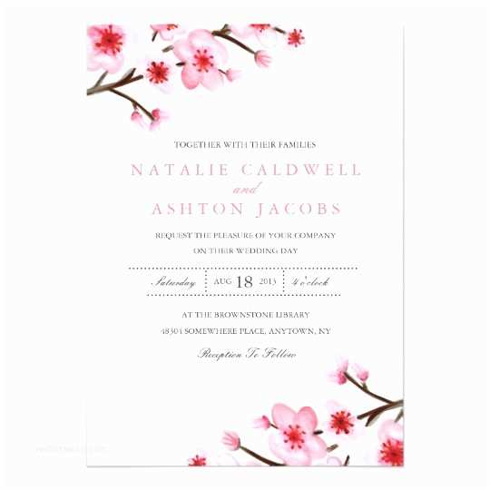 Cherry Blossom Wedding Invitations Painted Cherry Blossoms Wedding Invite