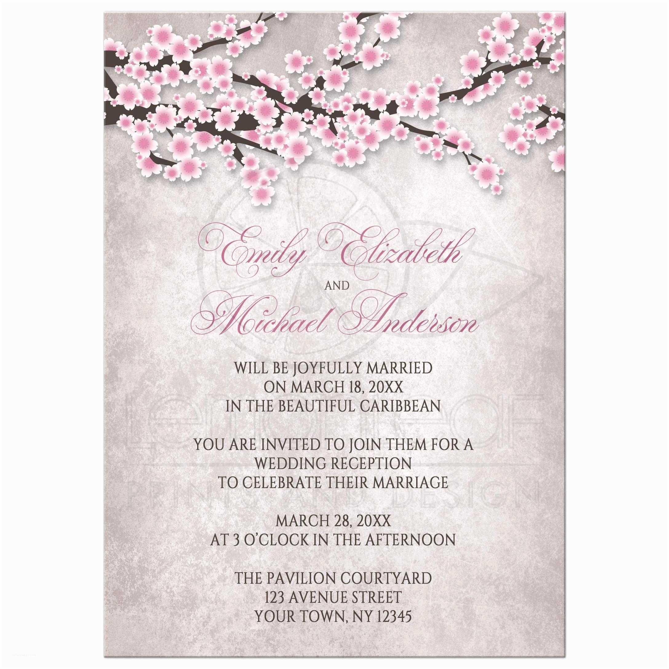 Cherry Blossom Wedding Invitations Reception Ly Invitations Rustic Pink Cherry Blossom
