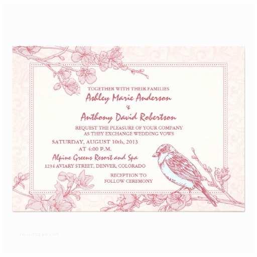 "Cherry Blossom Wedding Invitations Rose Pink Cherry Blossom Bird Wedding Invitation 5"" X"