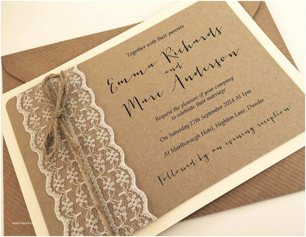 Chic Wedding Invitations 1 Vintage Rustic Shabby Chic Emma Lace Wedding