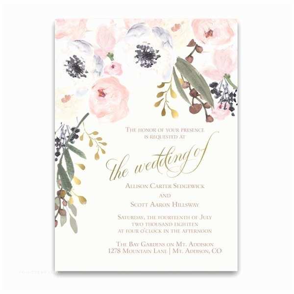 Chic Wedding Invitations Blush Gold Watercolor Floral Boho Chic Wedding Invitations