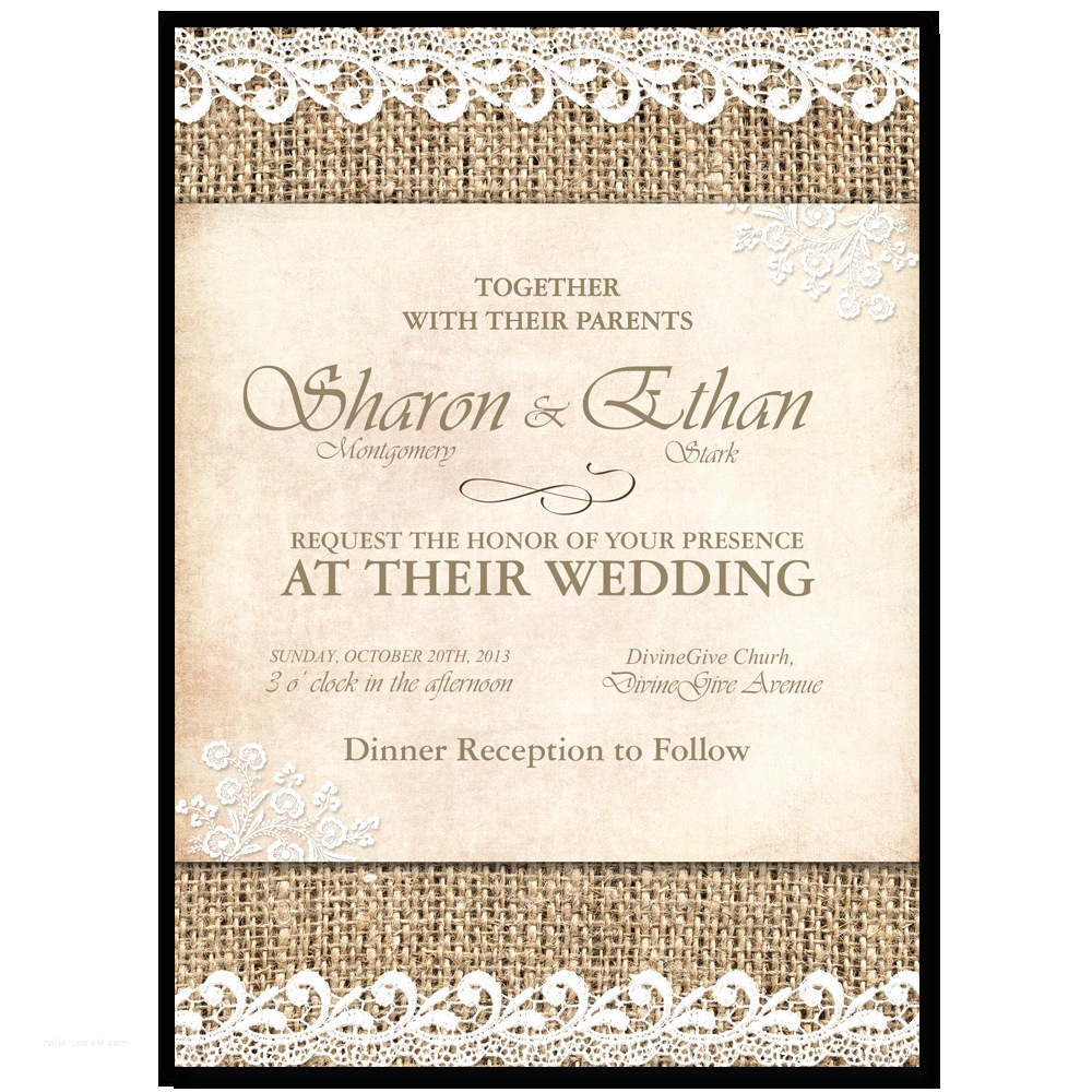 shabby chic wedding invitation burlap lace printable wedding invitation