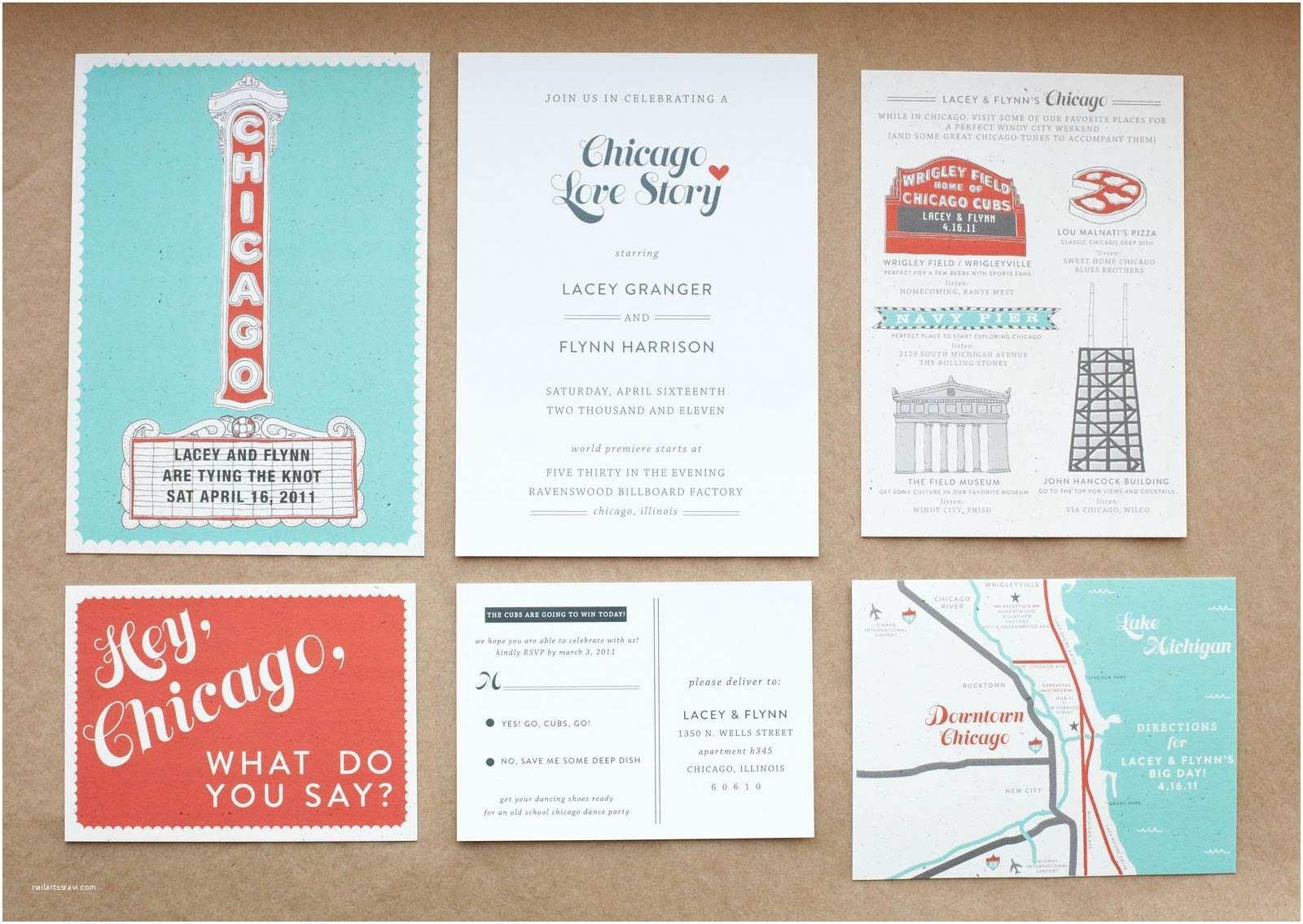 Chicago Wedding Invitations Chicago Wedding Suite Lacey & Flynn – Swiss Cottage Designs