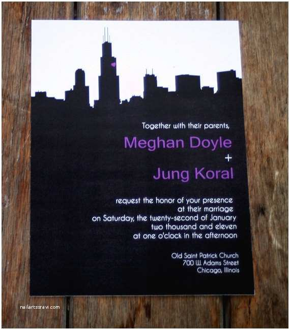 Chicago Wedding Invitations Modern Wedding Invitationschicago Skyline Wedding