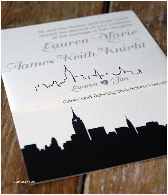 Chicago Wedding Invitations Skyline Wedding Invitation Nyc Chicago Modern Any by