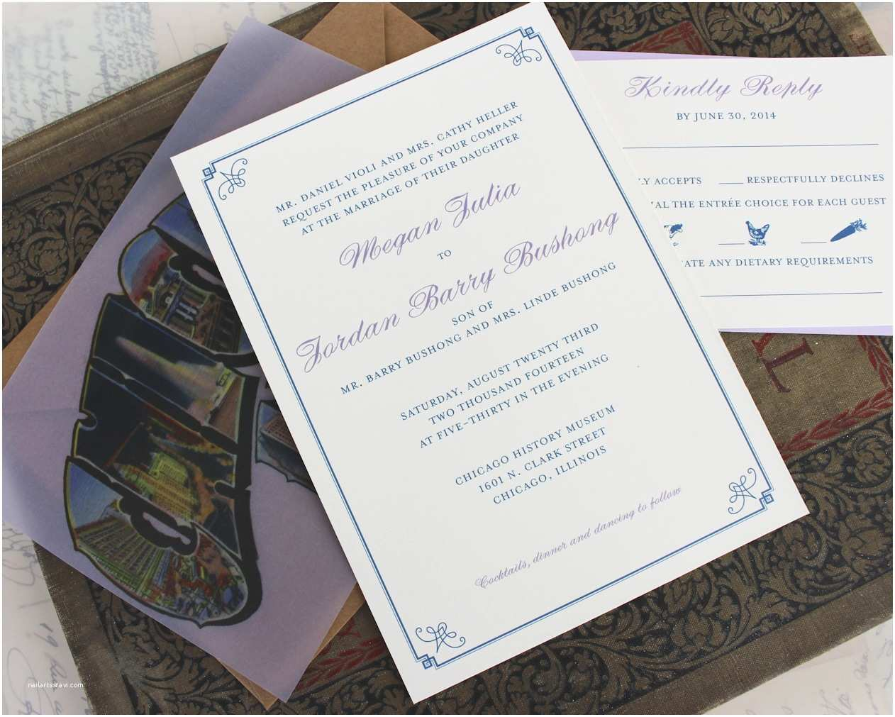Chicago Wedding Invitations Vellum Overlay Retro Wedding Invitation Chicago Il