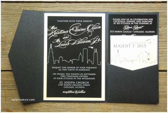 Chicago Wedding Invitations Wedding Invitation Chicago Skyline Night with Bold Script In