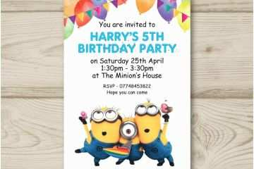 childrens birthday party invitations 10 personalised minions